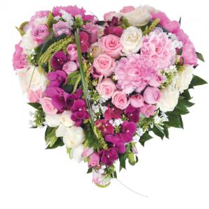 coeur de roses roses