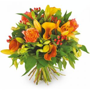 bouquet de deuil jaune orange