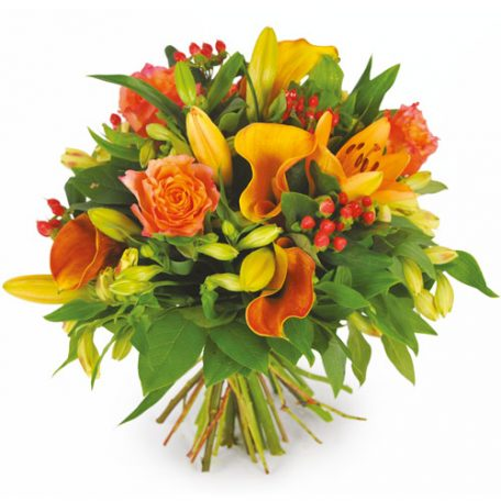 bouquet de deuil jaune orange