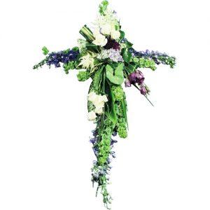 croix funéraire en fleurs